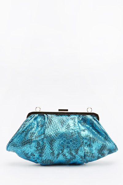 Image of Metallic Mock Croc Clutch Bag