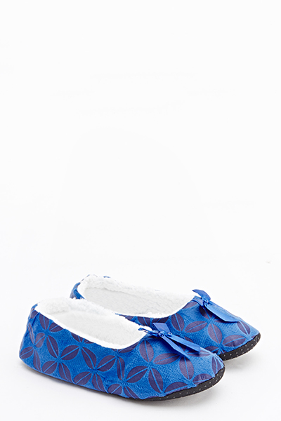 Printed Faux Fur Lined Slippers