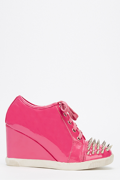 Studded Front PVC Wedge Trainers