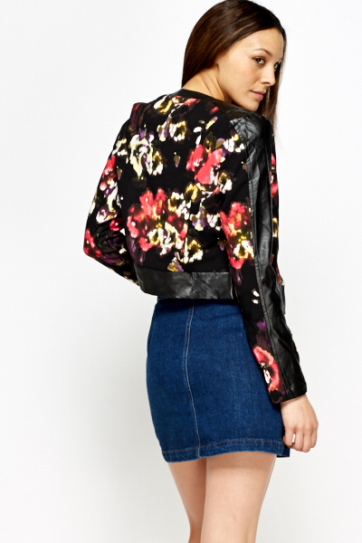 Floral Faux Leather Insert Jacket