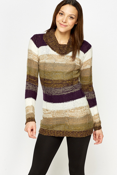 Knitted Striped Long Jumper