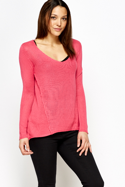 Low V-Neck Knit Jumper