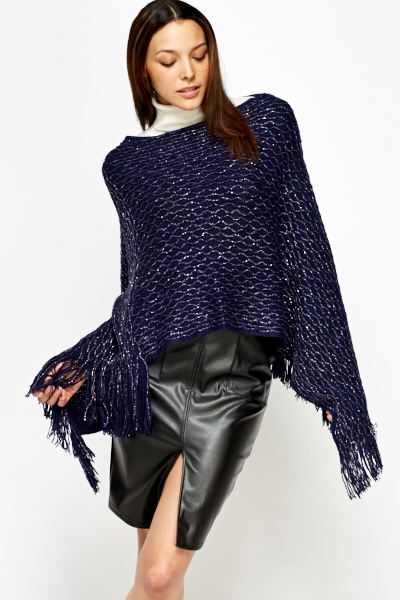 Metallic Fringed Poncho