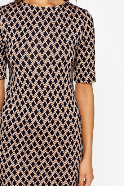 Navy Contrast Printed Shift Dress