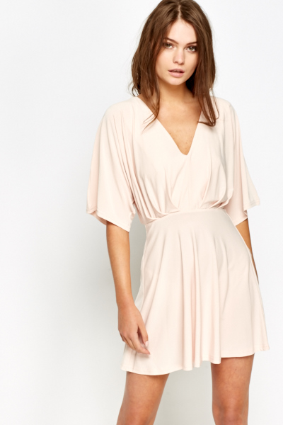 Pleated Light Peach Skater Dress