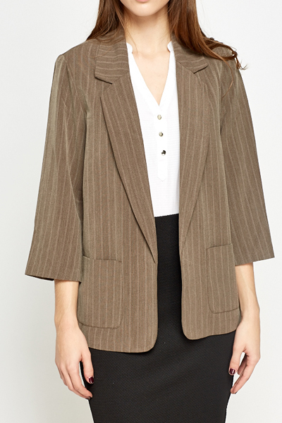 Bell Sleeve Striped Blazer