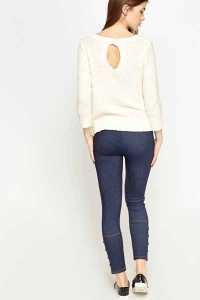 Casual Button Detail Jeggings