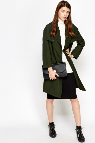 Dark Green Button Front Trench Coat