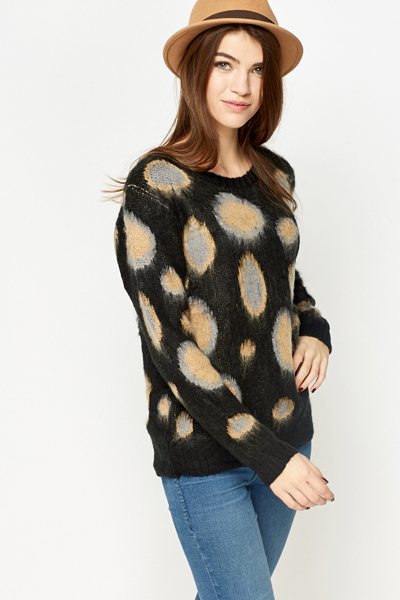 Fluffy Contrast Circle Jumper