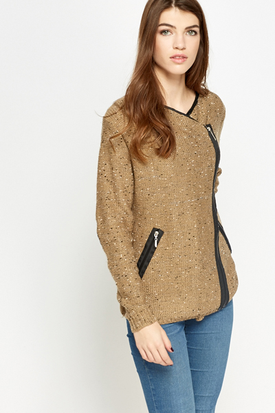 Knit Speckled Side Zip Jacket