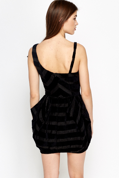 Puff Striped Black Dress