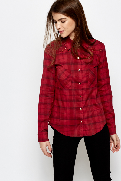Red Studded Trim Check Shirt