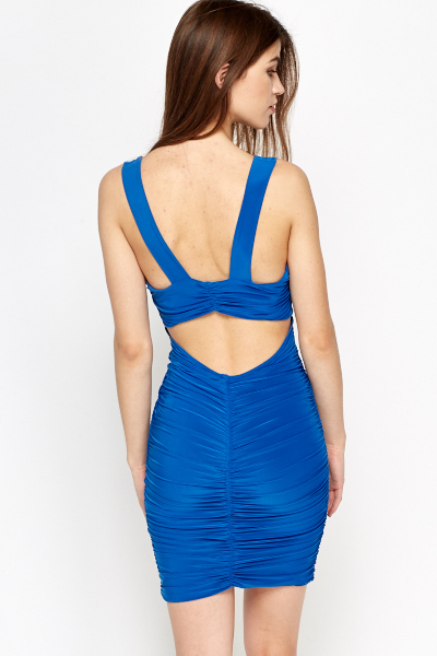 Royal Blue Plunge Ruffled Dress