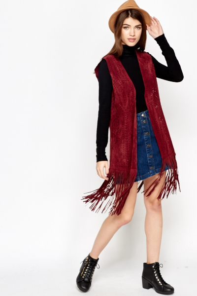 Wine Suedette Laser Cut Fringed Jacket