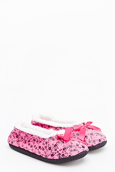 Floral Bow Front Slippers