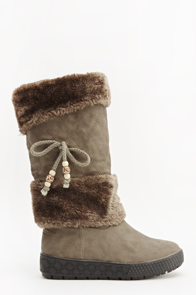 Khaki Faux Fur Trim Boots