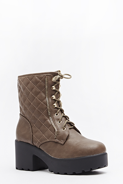 Quilted Chunky Heeled Boots