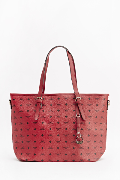 Textured Faux Leather Tote Bag