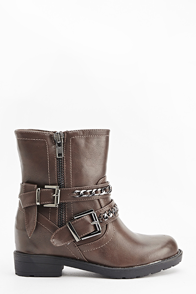 Twin Chain Strap Boots