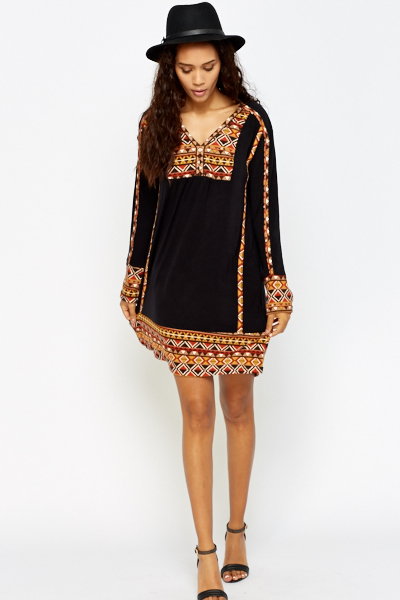 Aztec Trim Smock Dress