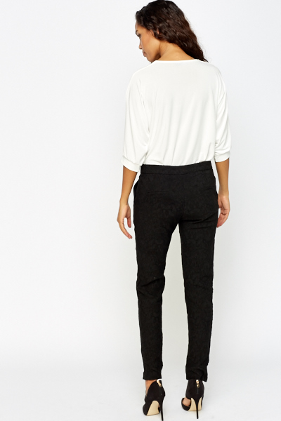 Black Textured Cigarette Trousers