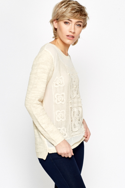 Crochet Front Contrast Knit Top