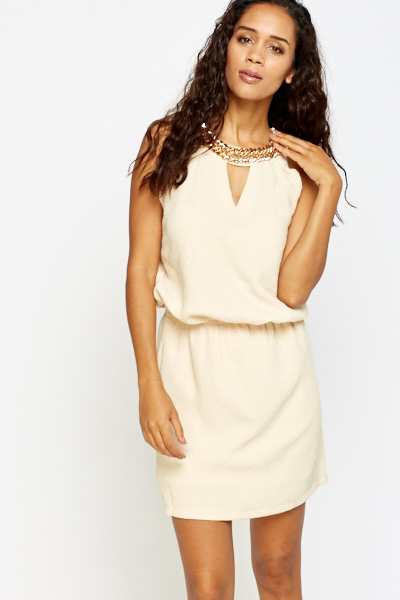 Embellished Chain Neck Dress