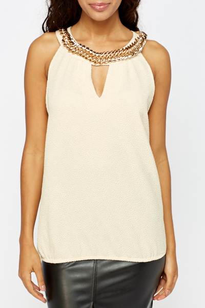Embellished Chain Neck Top