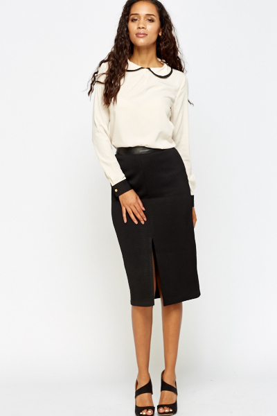 Contrast Trim Collar Blouse