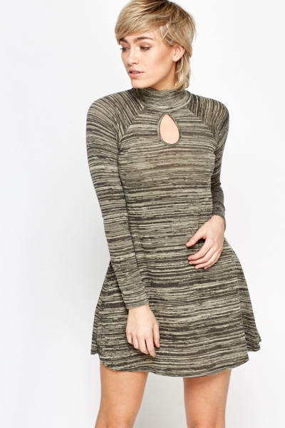 Cut Out Neck Striped Swing Dress