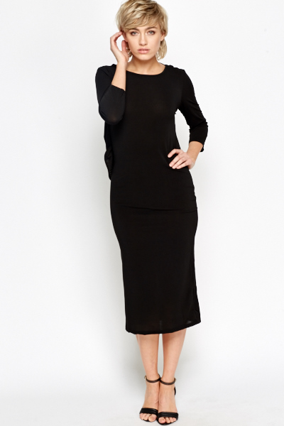 Drop Back Black Midi Dress