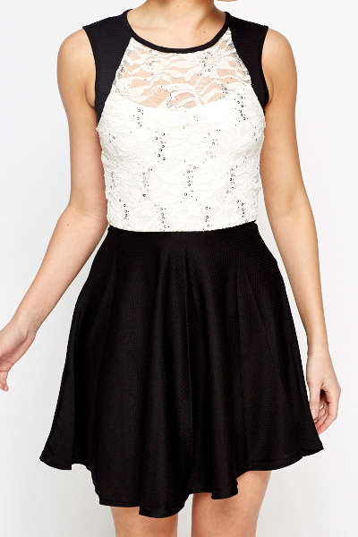Lace Insert Contrast Skater Dress
