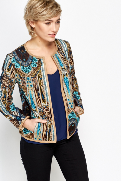 Quilted Paisley Round Neck Jacket