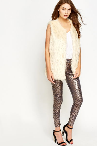 Snake Effect Wet Look Leggings