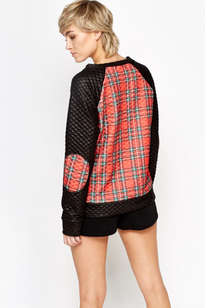 Tartan Contrast Quilted Jumper