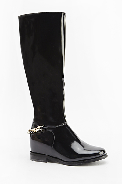 Chain Back Patent Boots