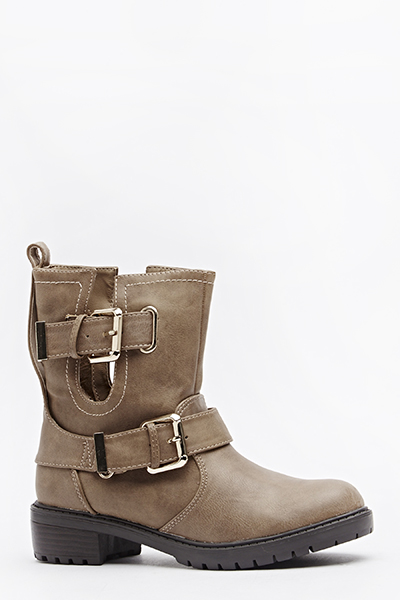 Cut Out Ankle Buckle Boots
