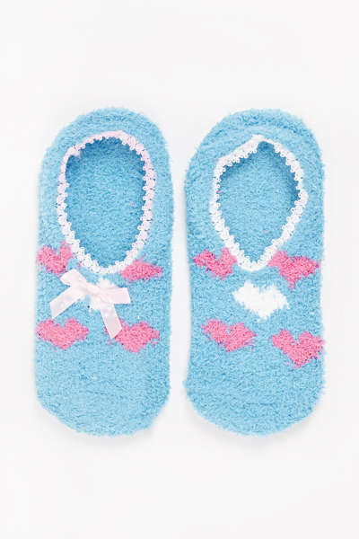 Heart Print Slipper Socks