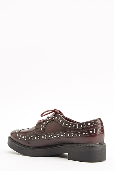 Wine Red Studded Trim Shoes