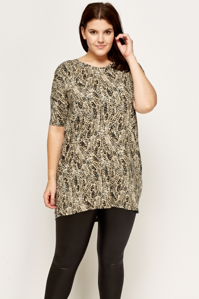 Beige Leaf Pattern Tunic