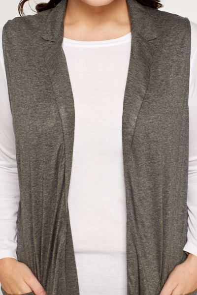 Dark Grey Sleeveless Midi Cardigan