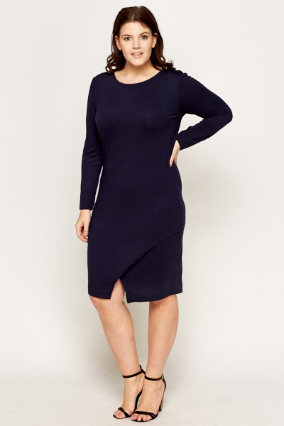 Midi Cross Over Slit Drop Dress