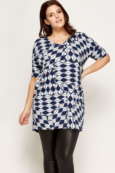 Navy Pattern Geo Top