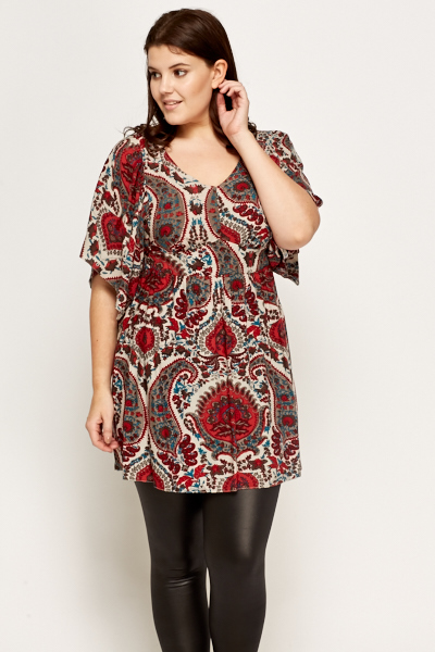Paisley Print Flare Top