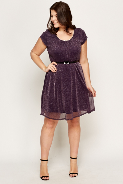 Purple Embellished Neck Metallic dress