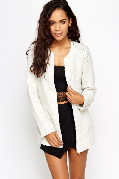 Frayed Trim Diamonte Jacket