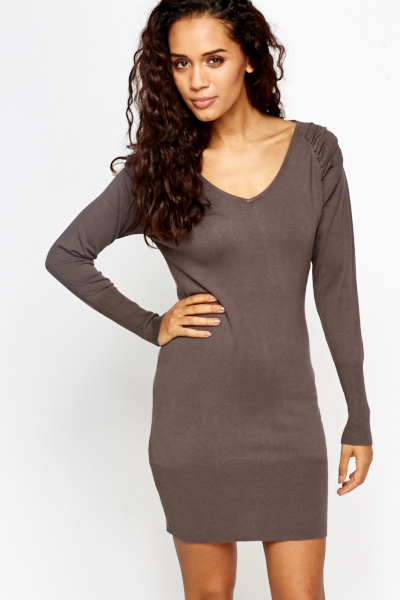 Low Ruffled Shoulder Bodycon Dress