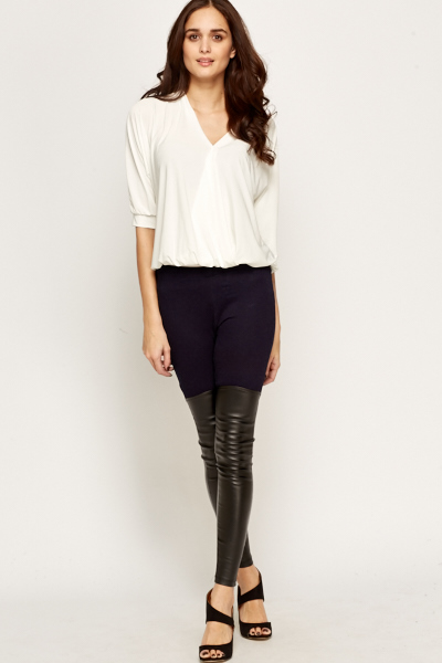 Contrast Panel Faux Leather Leggings