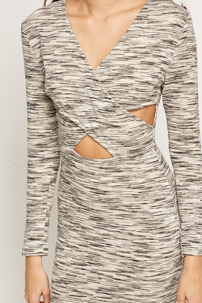 Cut Out Grey Speckled Dress