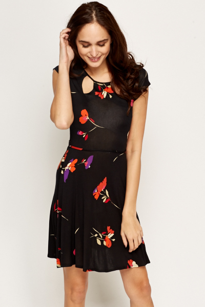 Cut Out Neck Floral A-Line Dress